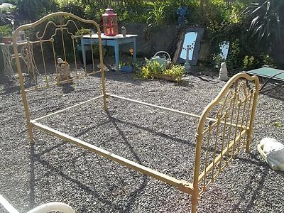FRENCH ANTIQUE PROVINCIAL 19th century IRON BEDSTEAD ORIGINAL PIECE