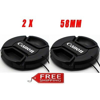 2X 58mm Lens Cap Cover for Canon T5i t6i t7i SL2 EF-S 18-55mm EF 50mm f/1.4 USM