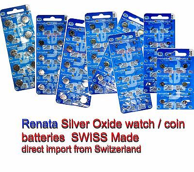 Renata Silver Oxide watch batteries 371 377 394 390 395 etc Swiss made