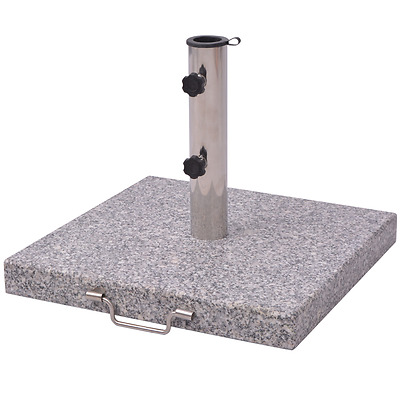 Square Parasol Stand Polished Granite Base Handle Stainless Steel Umbrella 30kg