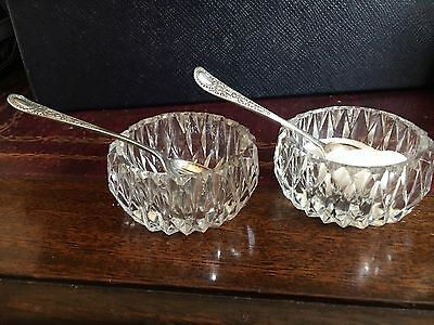 Antique Pair Open Glass Salts With Spoons
