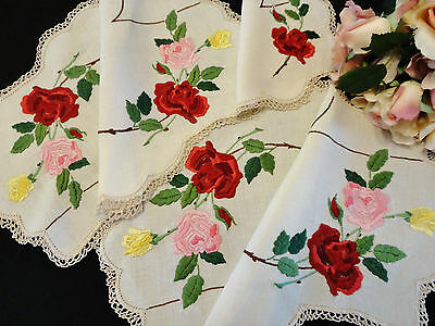 Three Vintage Hand Embroidered Doilies Red Rose Design