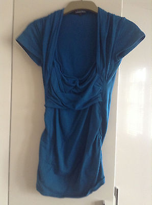 Isabella Oliver Maternity Teal Blue Short Sleeve Wrap Top Size 3