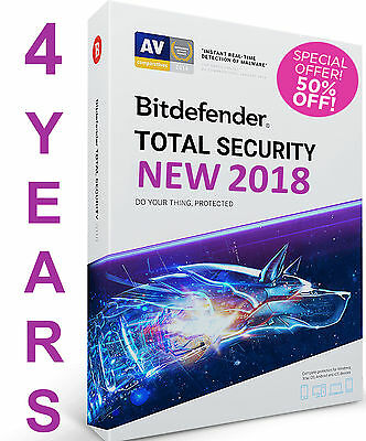 Bitdefender Total Security 2018 I 4 YEAR 1 DEVICE IPRE ACTIVATED I NO KEYI NO CD