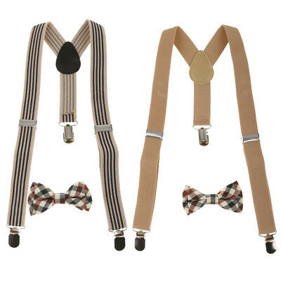 2Colors Toddler Kids Boys Plaid Bowtie + Y-back Suspender Set Clip-on Braces