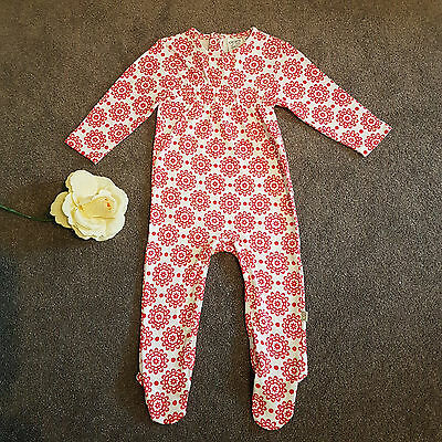 Baby Toddler Girl GAIA Organic Cotton One Piece Footed Romper Size 0 6-12Months