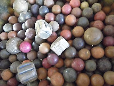 VINTAGE CLAY  MARBLES Worn and played with 3 lots 150g approx 50 Marbles (m008)