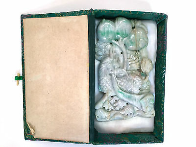 Antique Hand Carved Chinese Jade,very Large Carved In Two Sides,original Box