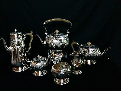 Antique English Silver Plated 6 Pc.tea Set,hand Made,hand Chased,original Plate.
