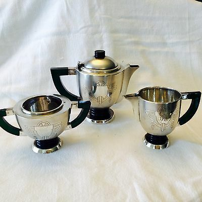Art Deco Sterling silver tea set,amazing details,very very unusual and rare.