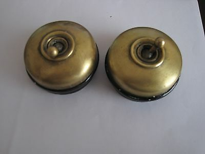 2 x VINTAGE ELECTRIC SWITCHES -  CRABTREE CERAMIC AND BRASS