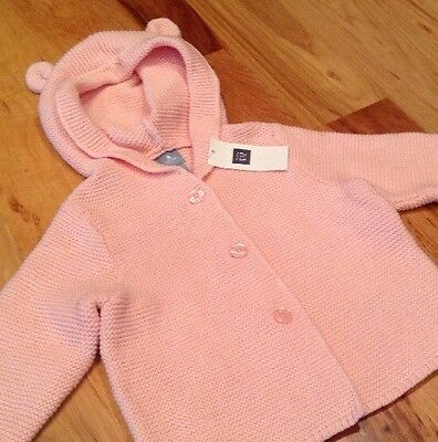 Baby Gap Girls 6-12 Months Pink Sweater With Cute Bear Ears. Nwt