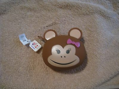 Womans Girls Coin Purse Wallet Change Monkey With Pink Bow Eyelashes Gift Nwt