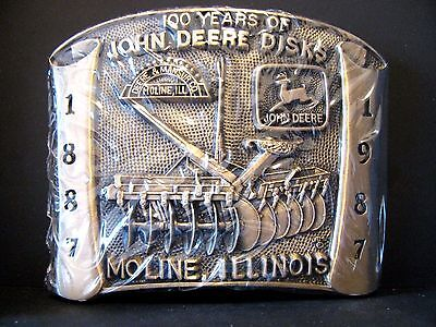 1987 John Deere 100 Years of Disks Mansur & Leaping Deer Logo Brass Belt Buckle