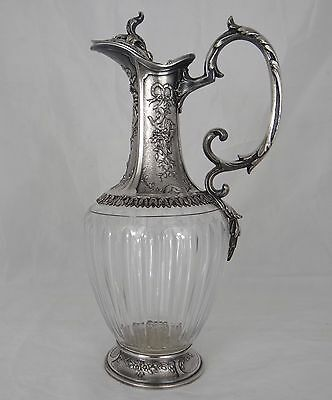 CHRISTOFLE GALLIA - Antique French Wine decanter Crystal Silver Plated-Louis XVI