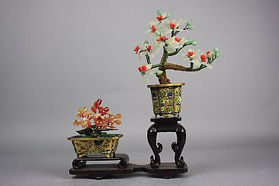 20th C. Chinese Set of Two Mini Cloisonné Enameled Jardinières With Jade and Har