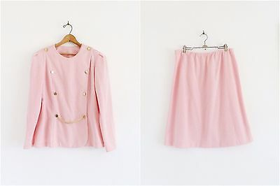 Vtg 80s Pink Gold Button GLAM Double Breasted Blazer Jacket 2 Pc Skirt Suit M L