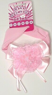 NEW Soft Touch Baby satin bow and lace flower headband pink 100% Polyester