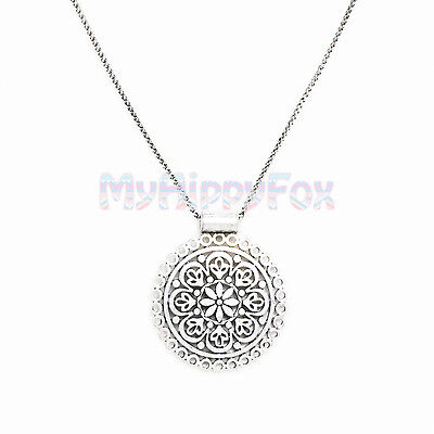 Lucky Brand Antiqued Silver Tone Cutout Floral Medallion Pendant Necklace