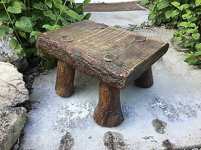Antique Old Chunky Rustic Milking Stool