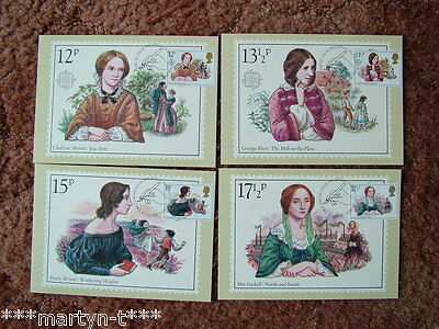 PHQ Stamp card set FDI (Front) No 44 Famous People. 1980 4 card set. Mint.