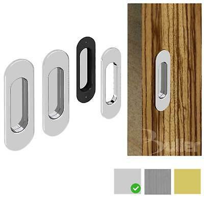 Flush Recessed Sliding Door Pull Oval Handle Set -Chrome - Satin Nickel - Brass