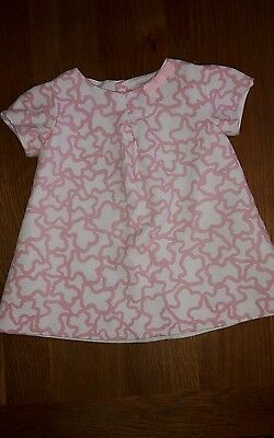 Baby girls pink and white A - line top, age 18 months