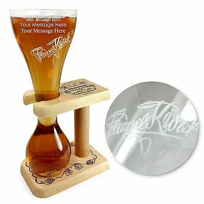 Tuff-Luv Personalised / Engraved Kwak Glass+Wooden Stand / Barware CE 330ml