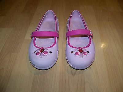 Crocs Girls Mary Jane Pink Slip On with Flower Size 13 Good Condition