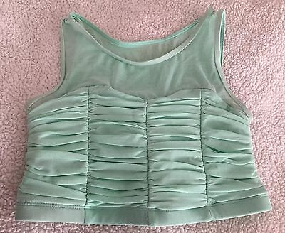 Dance Top Size Child Medium Mint Green Sheer & Gathered - Balera