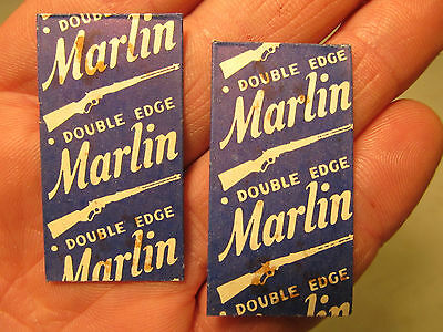 2 Vintage Old Marlin Rifle Firearms Co. Double Edge Safety Razor Blade Packages!