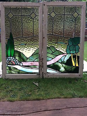 STAINED GLASS WINDOW EDWARDIAN PERIOD LEADED 1930s ANTIQUE WOODEN OLD ART DECO