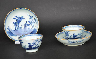 Pair Of Chinese Blue & White Porcelain Cup And Saucers W. Figures 18Th Century B