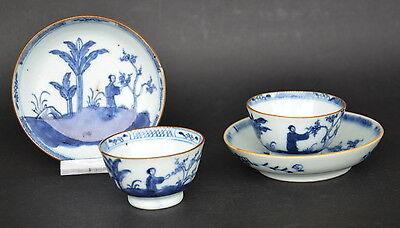 Pair Of Chinese Blue & White Porcelain Cup And Saucers W. Figures 18Th Century C