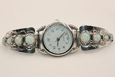 Signed Navajo Made Sterling Silver 8 Stone Opal Ladies Watch