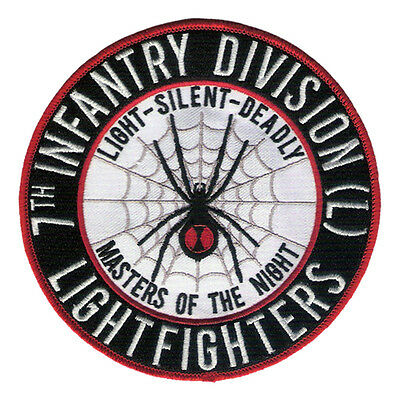 """New 5 1/2"""" 7th Infantry Division - Lightfighter - Black Widow Embroidered Patch"""