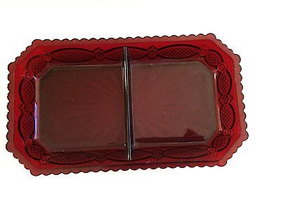 Avon Cape Cod Divided Dish Rectangle Red Glass Bowl Tray