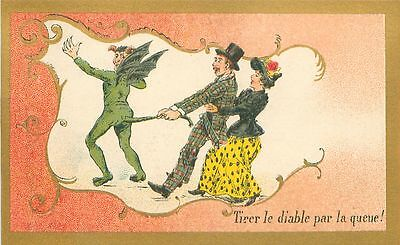 Tirer le Diable par la queue Expression France CARD IMAGE Romantique 1900s