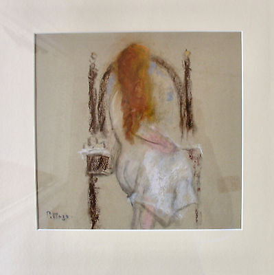 "Paul Maze Pastel Drawing ""Jessie In front of Oval  Mirror"""