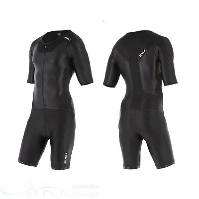 New 2XU Men X-Vent Full Zip Sleeved Trisuit Triathlon Tri Suit Black XS S M L XL
