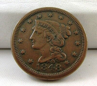 1848 Braided Hair Liberty Head Large Cent Penny - Great Details On Both Sides