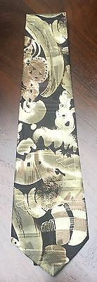 Christian Armand Neck Tie Hand Made Modern Graphic Print Green Black NWOT