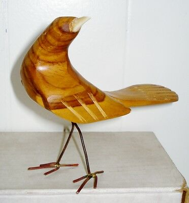 Vintage Desert Ironwood Bird Figurine Beautiful Colorful Design Nr