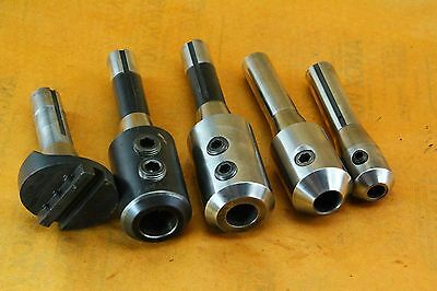"Lot Of Five (5)  R8 Tool Holders 1"", 7/8"", 3/4"", 1/2"", Fly Cutter"