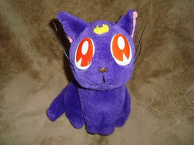 "1996 Sailer Moon Purple Cat Plush 7.5"" tall"