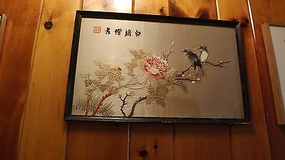 Exceptional Vintage Asian chinese applique embroidery on silk art