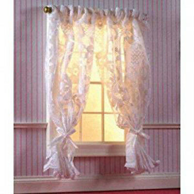 Dolls House Miniature 1:12th Scale Off White Lace Curtains On Rail