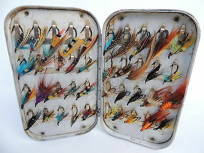 Richard Wheatley Fly Fishing Box + 40 Salmon Flies....1 of 2 listed.