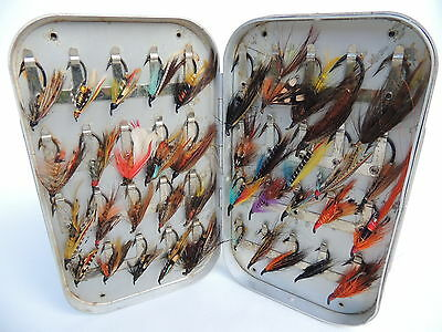 Richard Wheatley Fly Fishing Box + 40 Salmon Flies....2 of 2 listed.