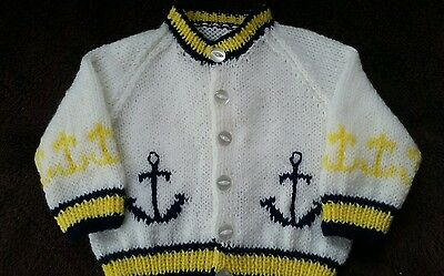 Brand New Hand Knit Baby Boys Cardigan with ANCHORS (0-3 months)